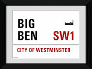 LONDON Framed Photos- Big Ben Street Sign