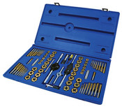Includes: (6) Machine Screw Plug Taps and 5/8 inch Hex Dies:4-40 NC, 6-32 NC, 8-32 NC, 10-24 NC, 10-32 NF, 12-24 NC <li>(10) Fractional Plug Taps and 1 inch Hex Dies:1/4-20 NC, 1/4-28 NF, 5/16-18 NC, 5/16-24 NF, 3/8-16 NC, 3/8-24 NF, 7/16-14 NC, 7/16-20 NF, 1/2-13 NC, 1/2-20 NF </li><li>(6) Metric Plug Taps and 5/8 inch Hex Dies:3mm-0.50, 4mm-0.70, 4mm-0.75, 5mm-0.80, 5mm-0.90, 6mm-1.00 </li><li>(10) Metric Plug Taps and 1 inch Hex Dies:7mm-1.00, 8mm-1.00, 8mm-1.25, 9mm-1.00, 9mm-1.25, 10mm-1.25, 10mm-1.50, 11mm-1.50, 12mm-1.50, 12mm-1.75 </li><li>(2) Pipe Thread Plug Taps and 1 inch Hex Dies:1/8-27 NPT, 1/8-28 BSP </li><li>(1 each) of the following: Adjustable Die Stock: 1 inchDies </li><li>Plain Die Stock: 5/8 inch Dies ,li>Adjustable Handle Tap Wrench: Taps No. 0 to 1/2</li><li>Two-In-One Tap Wrench: Taps 1/4 to 1/2 inch</li><li>T-Handle Tap Wrench: Taps No. 0 to 1/4 Metric Thread Pitch Gauge </li><li>Fractional Thread Pitch Gauge  </li>