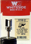 WHITESIDE MACHINE 3012 TEMPLATE BIT W/BALL BEARING GUIDE 3/4CD 3/4CL 1/4SHANK