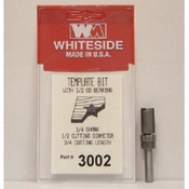 WHITESIDE MACHINE 3002  TEMPLATE BIT W/BALL BEARING GUIDE 1/2CD 3/4CL 1/4SHANK