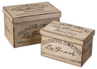 Chocolaterie, Decorative Boxes, Fir Wood, Set Of 2