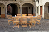 teak 9 pc folding chair outdoor patio dining set by caluco?