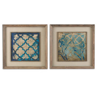 Stained Glass Indigo Wall Art, Set Of 2