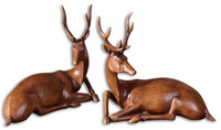 Buck Wood Tone Statues, Set/2