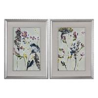 Parchment Flower Field Prints, Set of 2