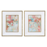 A Touch Of Blush And Rosewood Fences Art, S/2