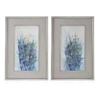 Indigo Florals Framed Art S/2