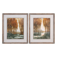 Custom Golden Forest Landscape Prints S/2