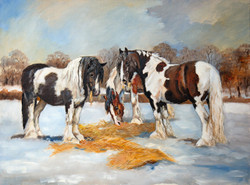 'Horses in the Snow' Original Oil Painting