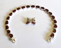 Garnet and Sterling Silver Bracelet & Earrings Set [29]