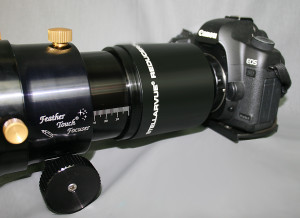 SFFR130EDT-3FT mounted on scope with DSLR attached