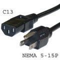 Computer 3-prong US-type Power Cord, NEMA 5-15P to C13 connector, 13 Amp rated, UL.