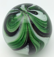 Green & White Feather Paperweight/Glow In The Dark/Art Glass/Home Decor