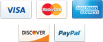 Accepting Visa, MasterCarc, American Express, Discover Card, and Paypal