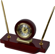 Marco Desktop Rosewood Gift Clock With Gold Pens Q154