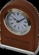 Dark Brown Laserable Leatherette Arch Desk Clock LLC201