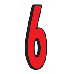 """18"""" Red and Black Number 6"""