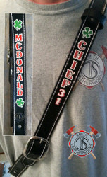 1 1/2 Black Radio Strap - shown in black, with scalloped edge, decorative stitching, and painted text and symbols