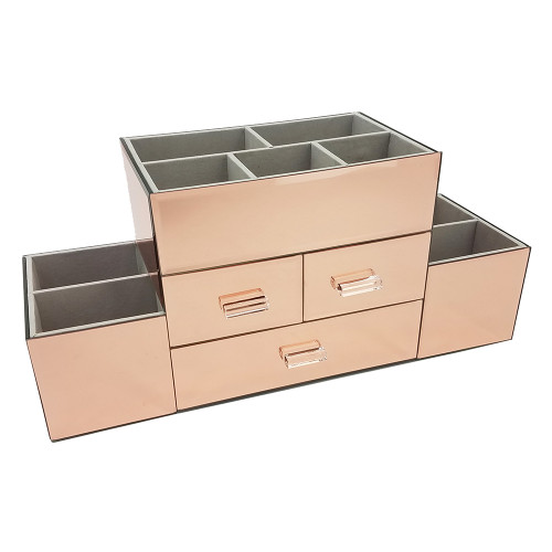 Ondisplay amara 3 drawer tiered rose gold mirrored makeup jewelry organizer vandue for Bathroom mirror with pull out storage