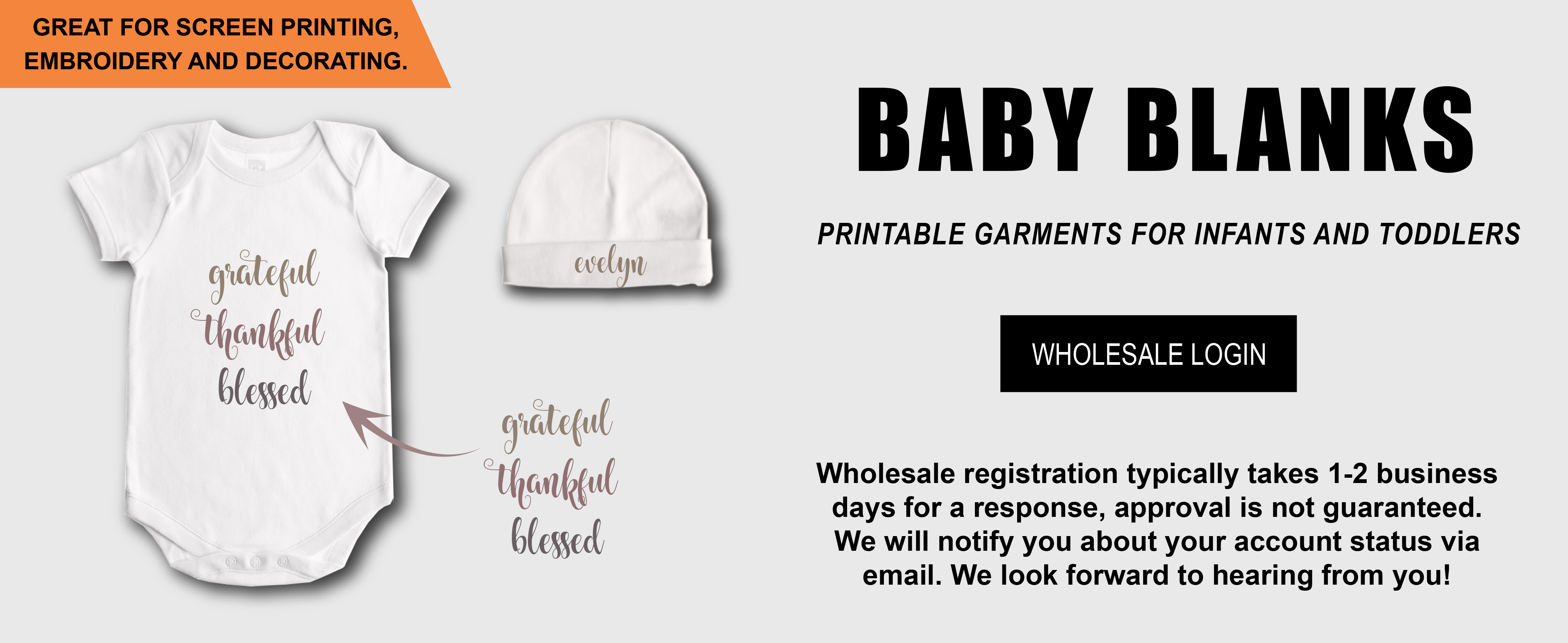 wholesale baby blanks, wholesale baby onesie, wholesale baby bodysuit, wholesale baby underwear, baby gowns, rompers, leggings