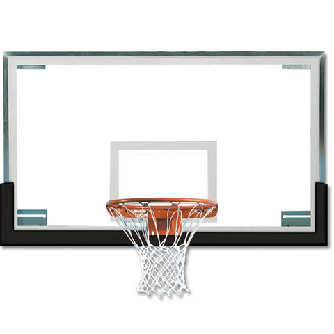 Black Spalding Superglass Collegiate and High School Basketball Backboard and Goal Package