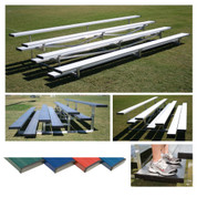 4 Row 7.5' Low Rise Pref. Bleacher - Blue