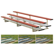 3 Row 15' Powder Coated Bleachers - Scarlet