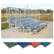 4 Row 15' Powder Coated Bleachers - Blue