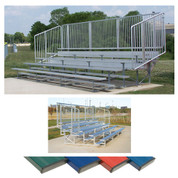 4 Row 15' Vertical Picket Bleacher - Navy