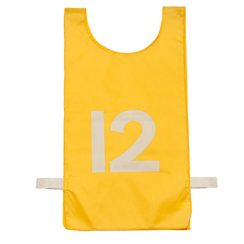 Gold Heavyweight Nylon Numbered 1-12 Pinnie Vest Set of 12