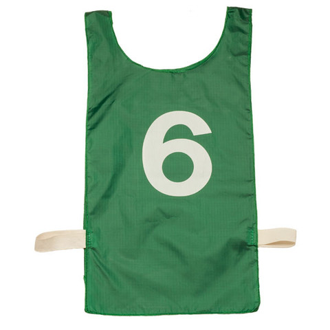 Green Heavyweight Nylon Numbered 1-12 Pinnie Vest Set of 12