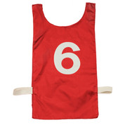 Red Heavyweight Nylon Numbered 1-12 Pinnie Vest Set of 12