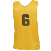Adult Numbered Nylon Micro Mesh Practice Vest - Yellow