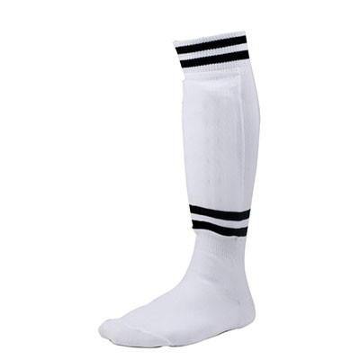 EVA Foam Sock Style Medium White Soccer Shinguard with Ankle Protector