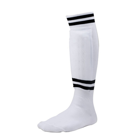 EVA Foam Sock Style Large White Soccer Shinguard with Ankle Protector