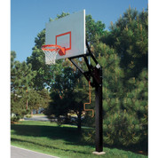 Bison Ultimate Adjustable Height Steel Rectangle Backboard Basketball System