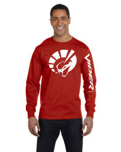 HANES BEEFY RED LONG SLEEVE TEE