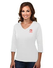 WHITE WOMEN'S 3/4 LENGTH SLEEVE TOP