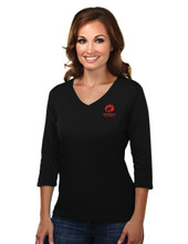 BLACK WOMEN'S 3/4 LENGTH SLEEVE TOP