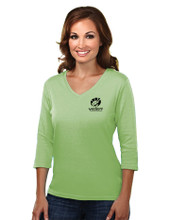 GREEN 3/4 LENGTH SLEEVE TOP