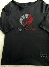 NEW CHARCOAL LIFE AT REDLINE FITTED 3/4 LENGTH SLEEVE TEE SHIRT