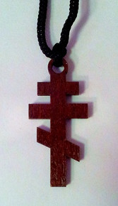 Jewelry- Wood 3-Bar Cross Necklace