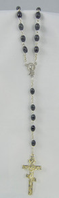 Black Rosary with Silver 3-Bar Cross