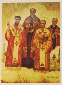 Four Saintly Bishops Holy Card pack