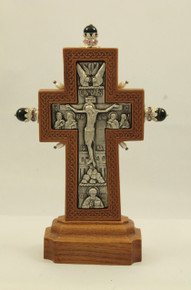 Cross- Standing Cross, wood and silver plated