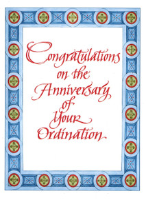 "Ordination Card- ""Congratulations on the Anniversary of Your Ordination"" card"
