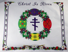 Silkscreened Easter Basket Cover with Cross & Pysanky
