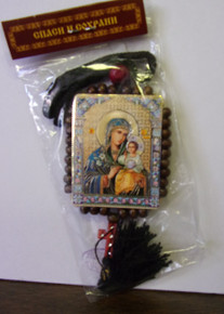 Icon- Virgin Eternal Bloom & Christ the Teacher with black tassle