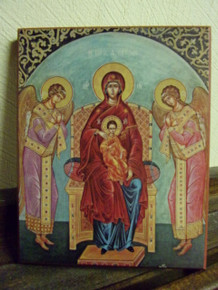 Icon- Theotokos (Enthroned with Angels)