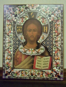 Icon- Christ Pantocrator (Enameled) (Russian 19th c.)